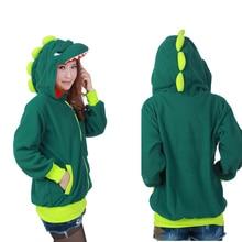Autumn Winter Women Dinosaur Animal Fleece Hoodies With Ear Cosplay Costume Couples Coat Jacket Sweatshirt SH017