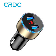 CRDC Car Charger 5V 3.1A With LED Display Universal Dual Usb Phone Car-Charger for Xiaomi Samsung S8 iPhone X 8 Plus Tablet etc(China)