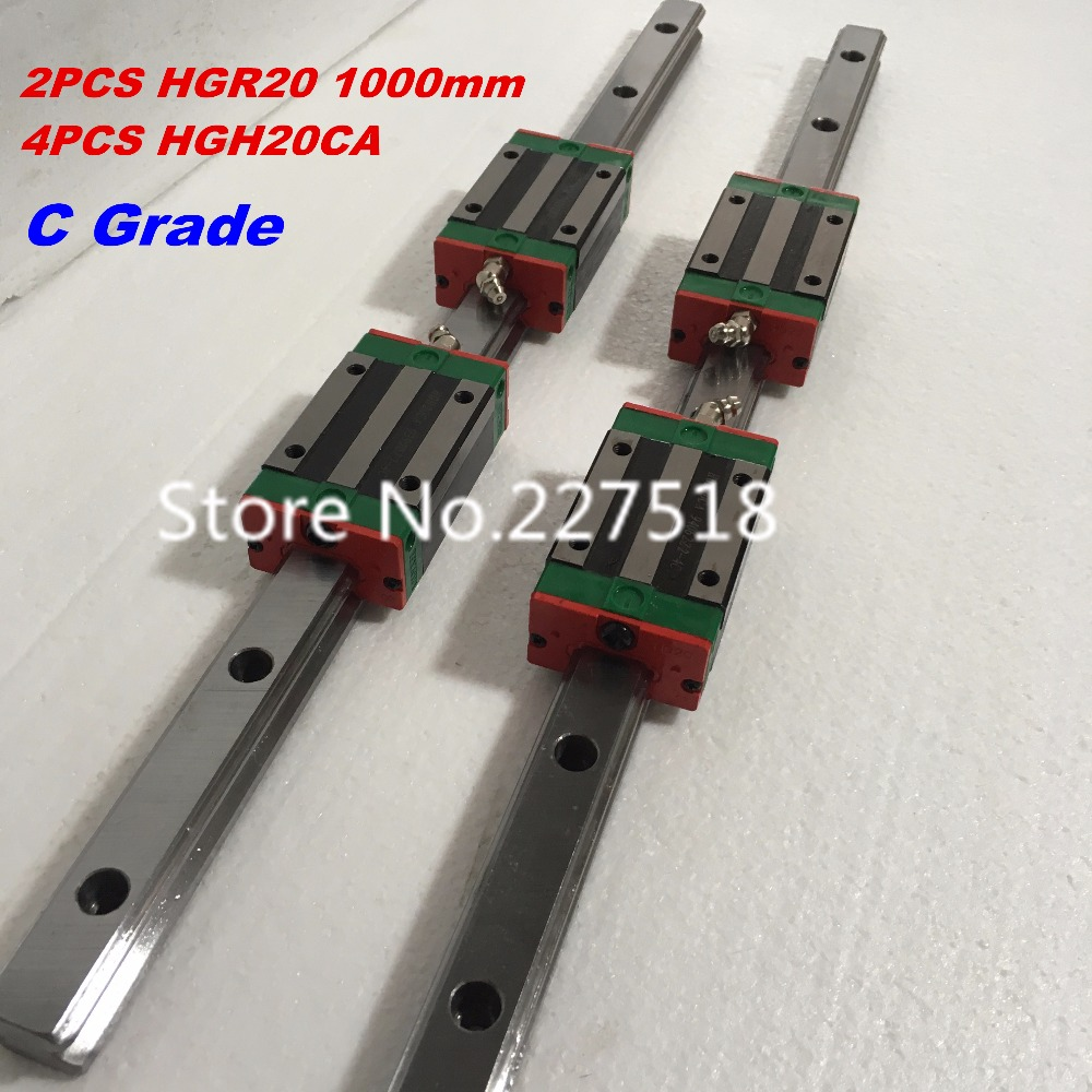 20mm Type 2pcs  HGR20 Linear Guide Rail L1000mm rail + 4pcs carriage Block HGH20CA blocks for cnc router tbi 2pcs trh20 1000mm linear guide rail 4pcs trh20fe linear block for cnc
