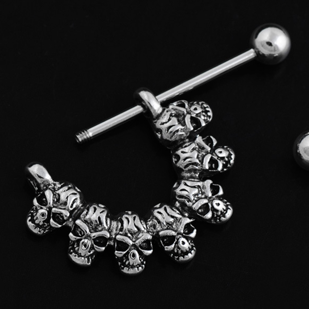 Steel Skull Nipple Rings Shield Nipple Bar Sexy Ring Punk Body Jewellery Nipple Piercing Rings Jewelry For Women Men Jewelry clocks and colours nomad