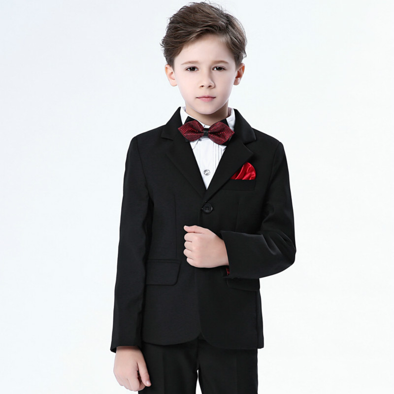 Boys Suits for Weddings New Navy Blue boys wedding suit Formal suit for boy kids wedding suits blazer boy boy suits formal children wedding suit for boys long suit kids blazer pants bow full white shirt for dancing costume for boy 8t