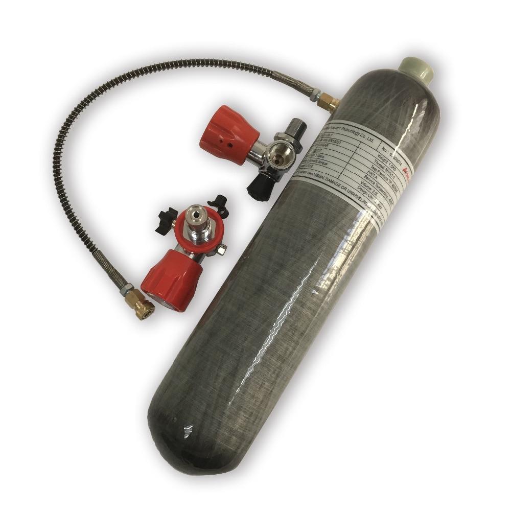 Ensemble complet 2L Composite Cabon Fiber De Cylindre avec Valve et Station De Remplissage pour Paintball PCP Carabine À Air Comprimé Pistolet Réservoir