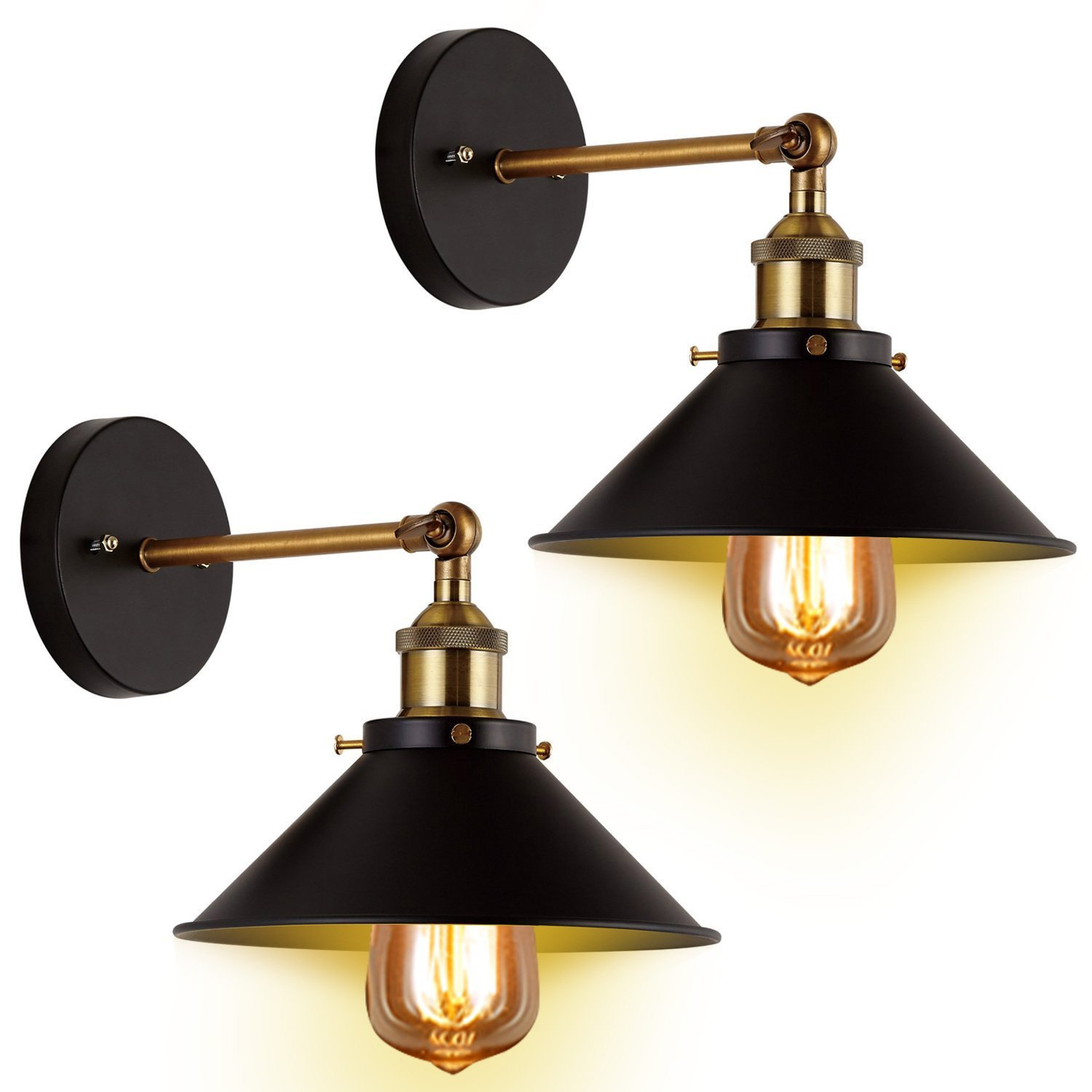 Wall Sconces Light 2-Pack Black Wall Industrial Vintage Edison Simplicity Lamp Fixture Steel Finished for Cafe Club 2 Light