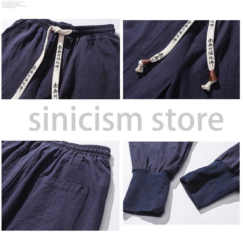 Sincismo loja harem calças dos homens japonês casual algodão de linho calças homem basculador calças chinês baggy calças