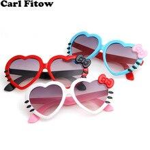 Модные летние солнцезащитные очки с милым сердечком и бантом в виде кота, очки, очки для детей, девочек, мальчиков и детей