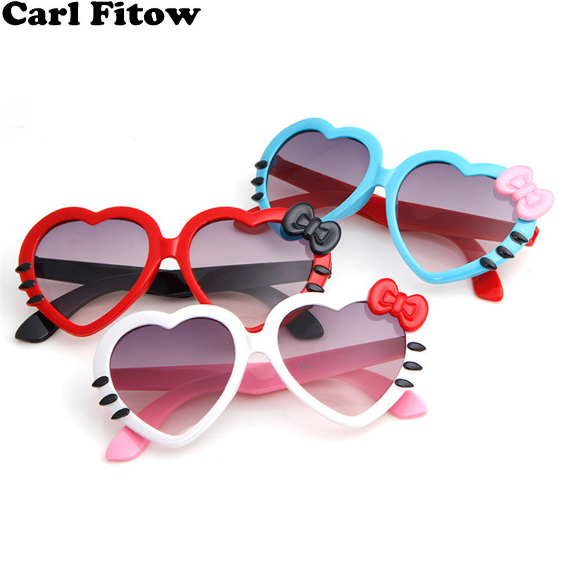270d63059a 2018 Fashion Summer Cartoon Cute Heart Bow Cat Sunglasses Glasses Eyeglasses  Eyeware For Kids Girls Boys