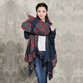Vintage Style Knit Big Pocket Women's Big Pocket Cardigans Outwear Long Sleeve Sweater Cape Coats Irregular Design
