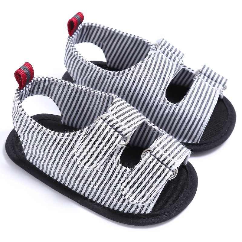 Summer New Holiday Beach Toddler Baby Boys Fashion Breathable Anti Slip Crib Stripe Shoes Kids Shoes Prewalkers Sandals