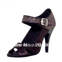 Women Black Satin Glitter LATIN Dancing Shoes Ballroom Shoes Salsa Dance Shoes Tango Dance Shoes Line