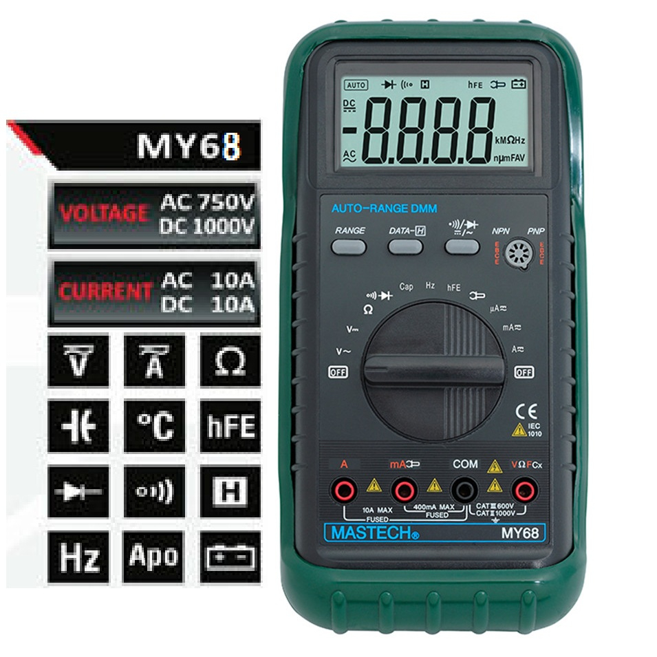 MASTECH MY68 New Digital Multimeter Electronic handheld multimeter 3 3/4 LCD 3999 Counts Auto Ranging AC DC Digital Multitester excel dt9205a 3 lcd digital multimeter black orange 1 x 6f22