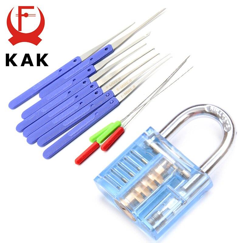 NED Mini Blue Visible Pick Cutaway Practice Padlock Lock With Broken Key Removing Hooks Extractor Set Locksmith Tool