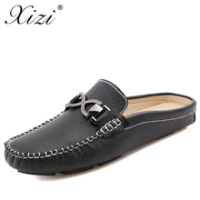 Xizi New Summer Mens Casual Shoes Male Baotou Lazy British Cowhide Flats Sandals Peas Half Drag Leather Breathable