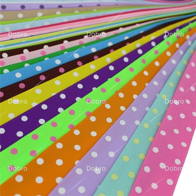 7 8 22mm 42 Colors Polka 3 Dots Printed Grosgrain Ribbon For Diy