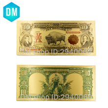 1901 Year Colorful USA Banknotes 10 Dollar Bill Banknotes Gold Plated Fake Money Beautiful Decor and Collection Bank Notes