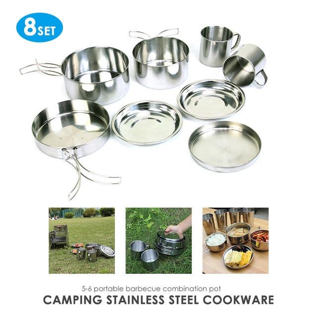 f586b72cb86 8 piezas de cuenco utensilios cocina Camping para herramientas senderismo  vajilla al aire libre olla viajes traje supervivencia Pan campamento