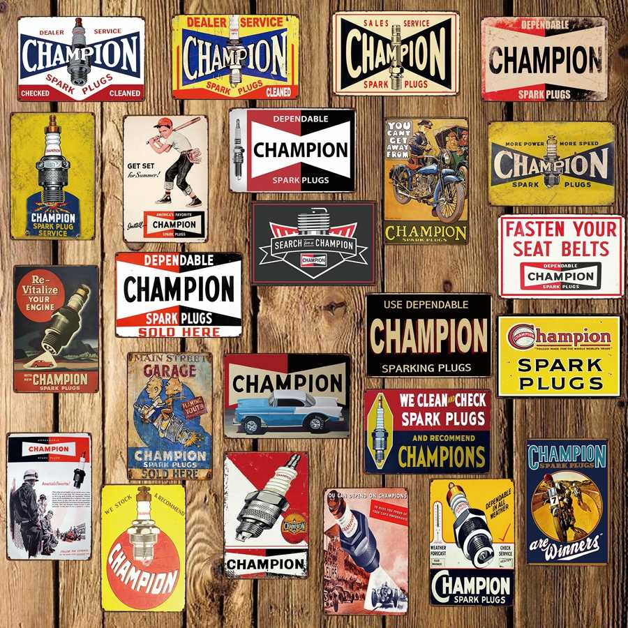 [ WellCraft ] Champion Motor Oil Retro Tin Sign Bar Garage Wall Poster Metal Paitning shabby chic home decor FG-505