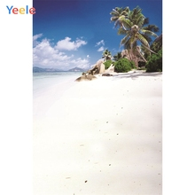 Yeele Seaside Beach Coconut Palm Tree Holiday Sky Photography Backgrounds Personalized Photographic Backdrops For Photo Studio