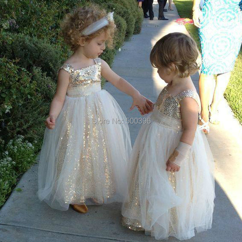 Sparking Floor Length Flower Girl Dresses For Weddings And Party