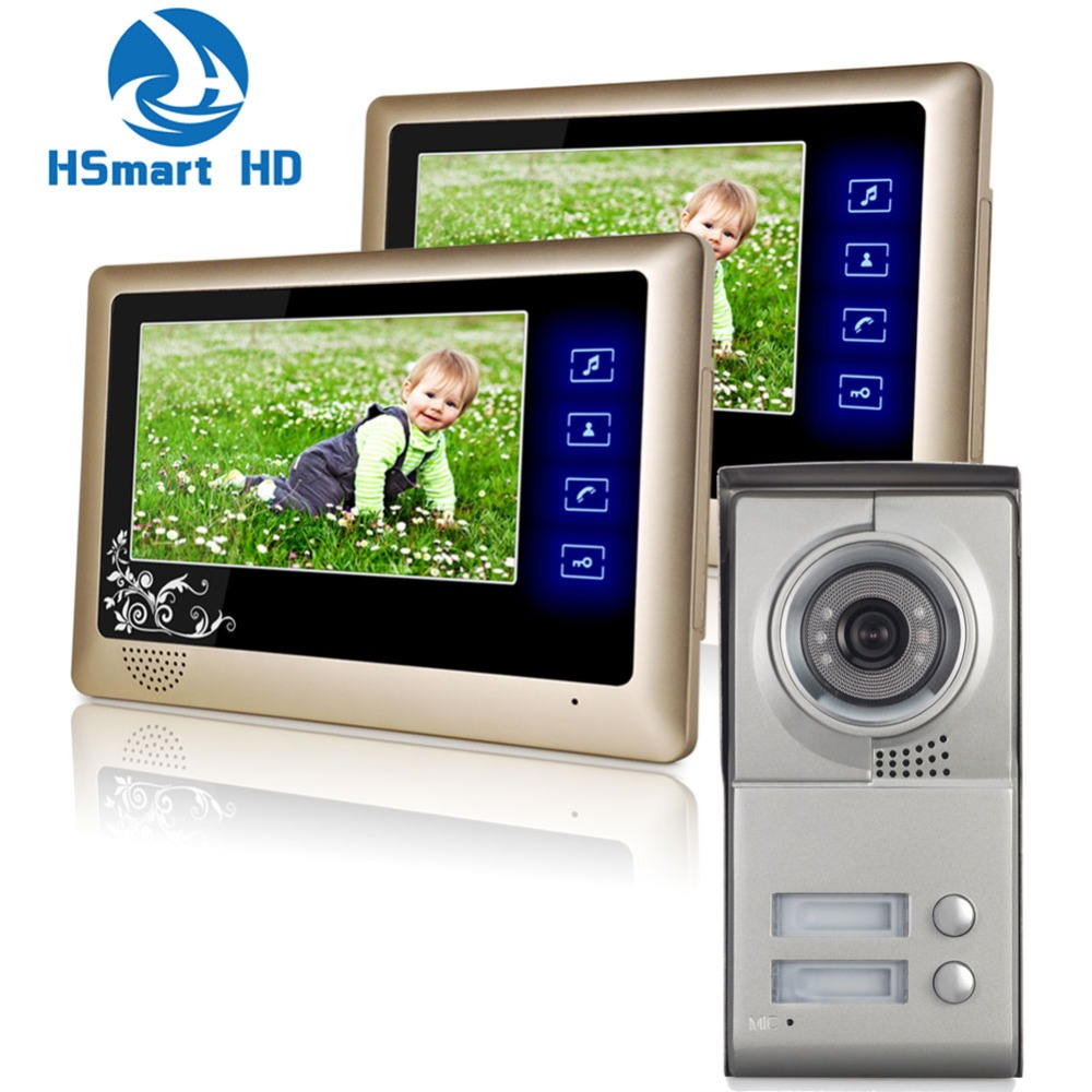 2 Units Apartment Intercom Entry System Wired Touch key 7'' Monitor Audio Video Door Phone my apartment