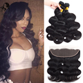 8A Brazilian Virgin Hair Body Wave 3/4 bundles with 13x4 Ear to Ear Lace Frontal Closure Brazilian Human Hair Full Lace Frontal