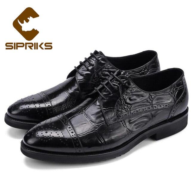 9a01cf6f9d6bf Sipriks Artesanal Italiano Brogue Zapatos Para Hombres de Cuero Genuino  Zapatos de Cuero Negro Zapatos de