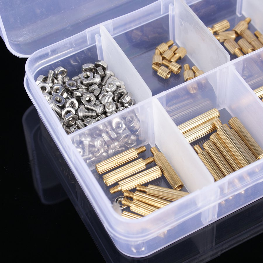 Screws 270pcs/set M2 3-25mm Male To Female Brass Pcb Standoff Screw Nut Assortment Kit Set