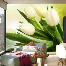 Custom Photo Wallpaper Murals 3D Modern Living Room TV Backdrop Wall Decor Bedroom Fresh White Tulips Non-woven Mural Wallpaper цена 2017