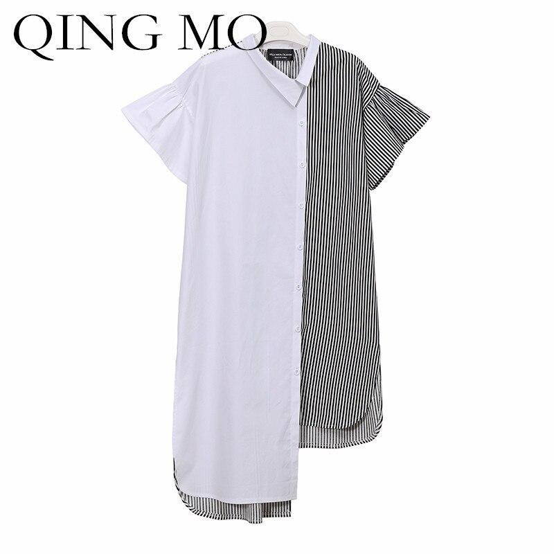 QING MO Turn-Down Collar Plus Size Dress 2018 New Summer Clothes Striped Shirt Dress Patchwork Women Irregular Dress ADQ088