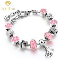 Dropshipping European Pan Bracelet Crystal Beads Charm Bracelets & Bangles Openwork Murano Glass Beads Bracelets SBR170060