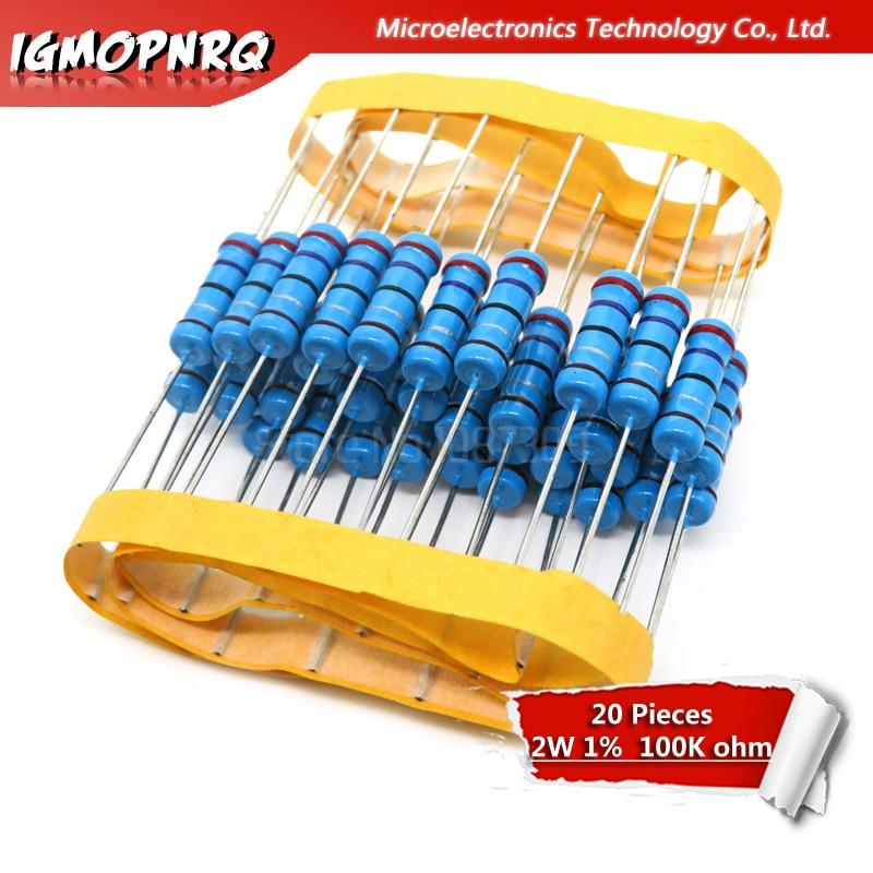 20pcs 2W Metal Film Resistor Resistance 1% 2W-100k 100kohm