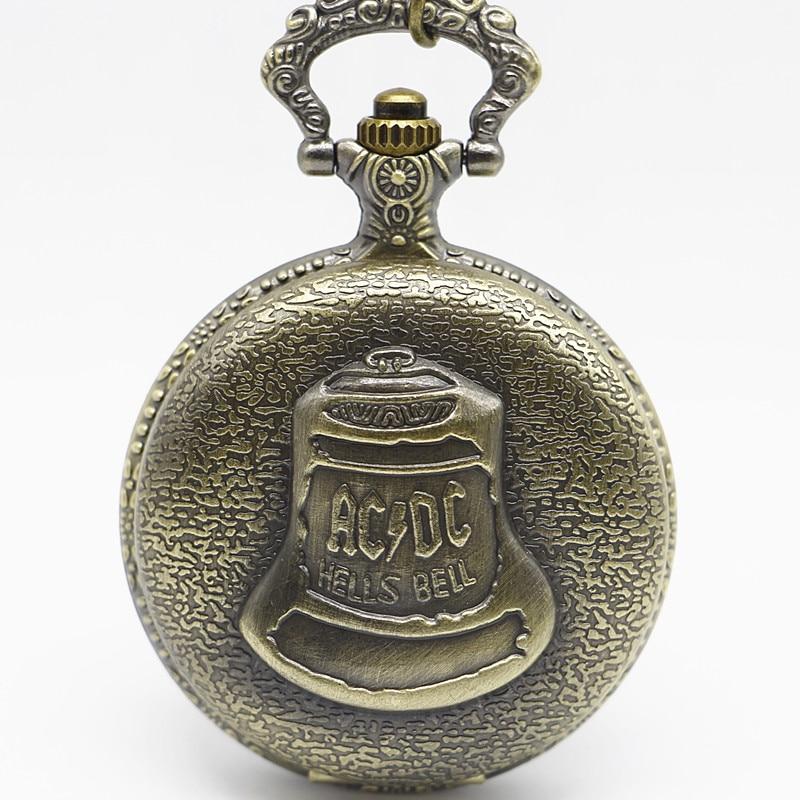 Bronze Pocketwatch Vintage ACDC Hells Bell Theme Quartz Pocket Watch Necklace Pendant For Men Children Gifts Masculino Relogio