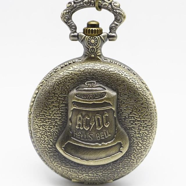 Bronze Pocketwatch Vintage ACDC Hells Bell Theme Quartz Pocket Watch Necklace Pe
