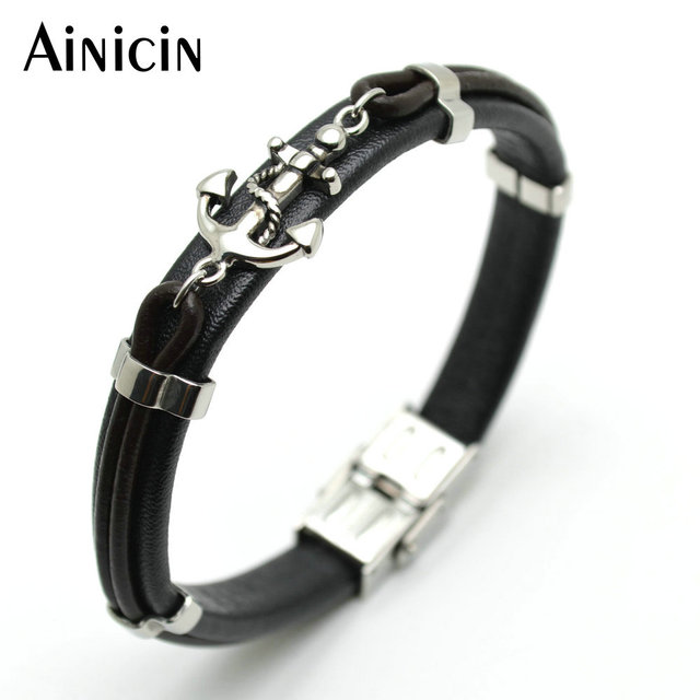 Fine Jewelry Mens Onyx Cross Black Leather and Stainless Steel Bracelet xzWTiW
