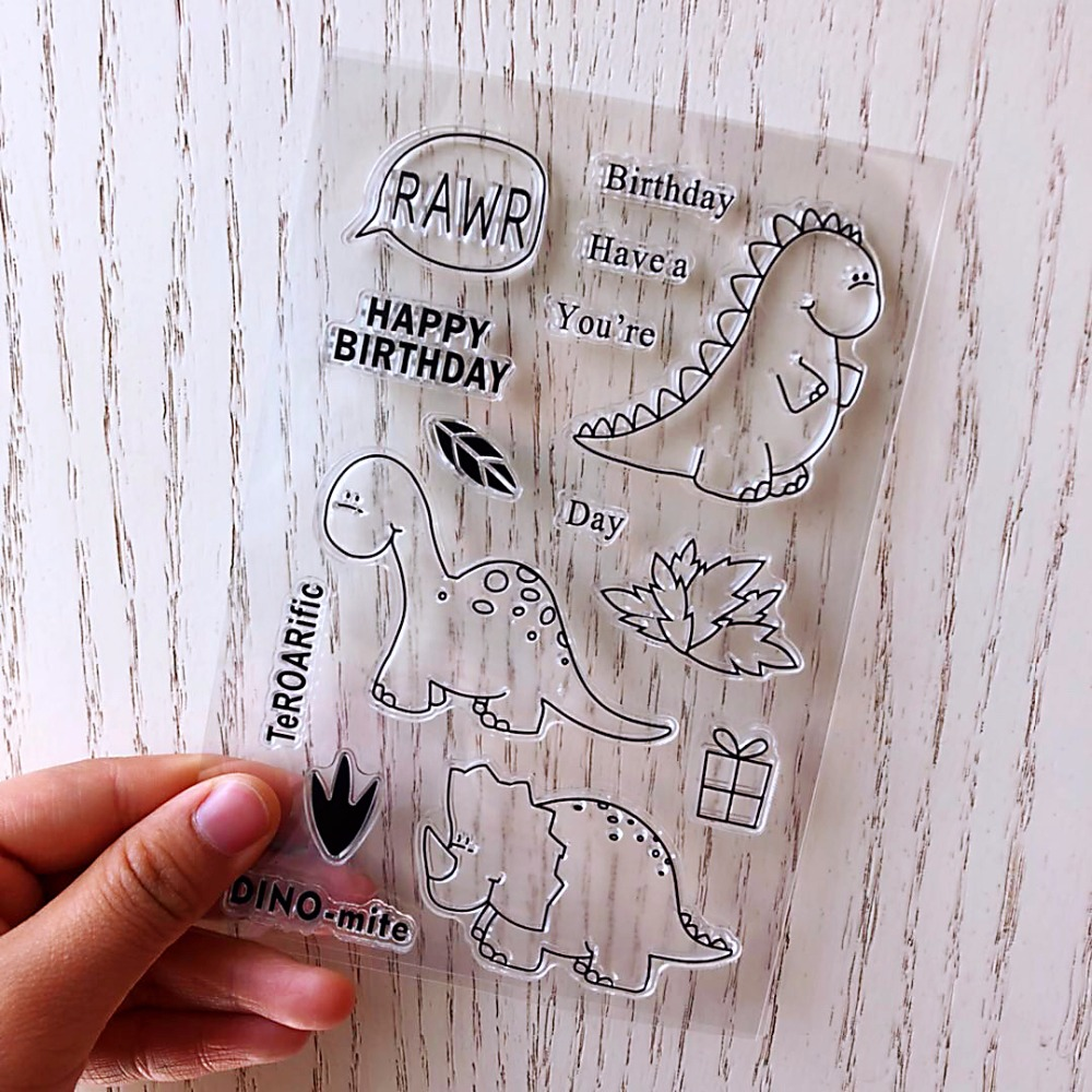 dinosaur/birthday/Transparent Clear Silicone Stamps for DIY Scrapbooking / Card Making / Kids Christmas Fun Decoration Supplies kscraft butterfly and insects transparent clear silicone stamps for diy scrapbooking card making kids fun decoration supplies