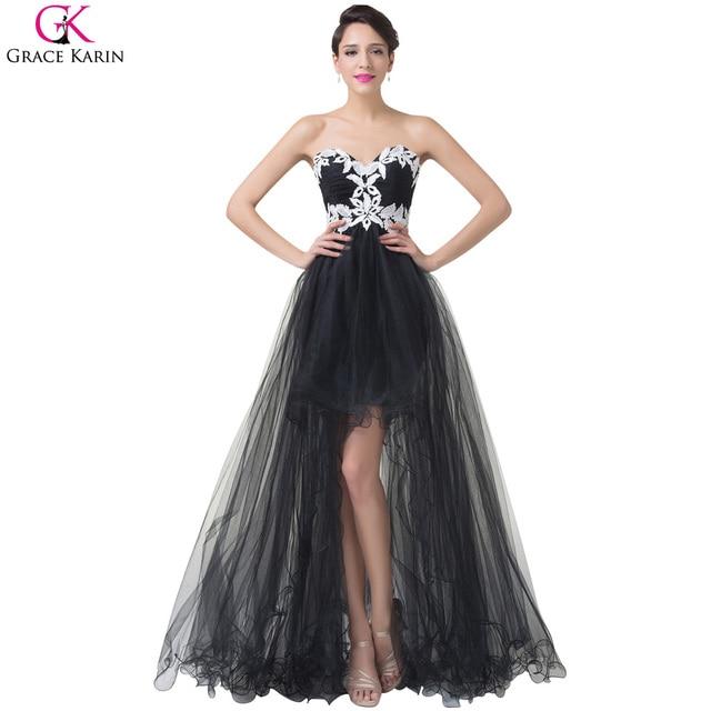 03c9fe8b065278 High Low Evening Dresses 2017 Grace Karin StraplessTulle Black And White  Short Front Long Back Ball