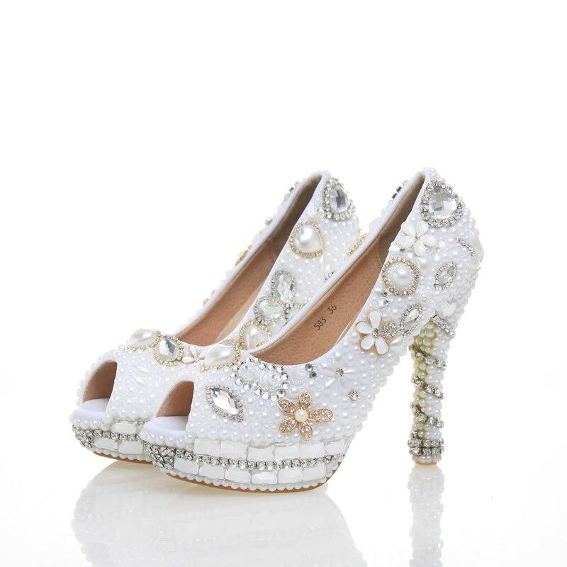 4259424f7756c Haute Femmes Demoiselles white Strass Plate Peep 2018 Toe 12cm Mariée Heels  Heels Talons De Mariage Blanc Bal forme Perle ...