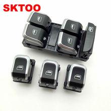 SKTOO 4PCS/Set New Chrome Electronic Window Control Switch Button Set For AUDI A4 S4 B8 Q5 8KD959851A 8KD959855A