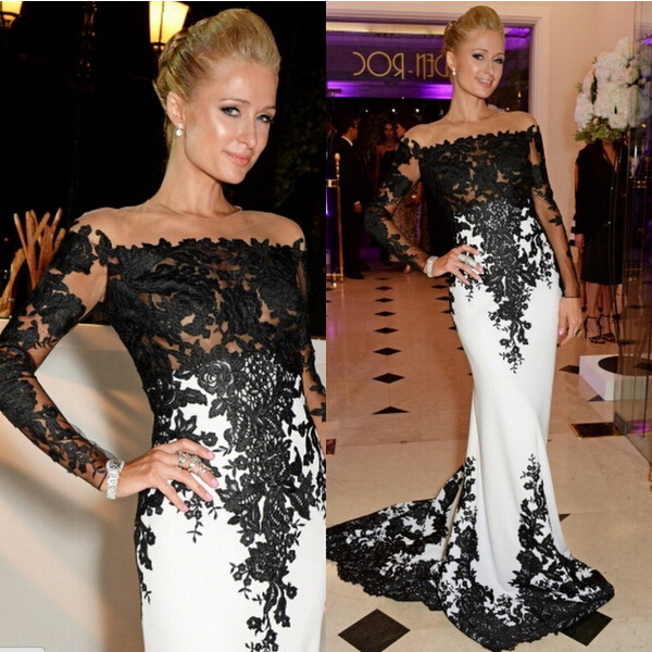 vestido de renda party prom   dress   boat neck appliques sexy free shipping 2015 new style long sleeve   evening     dress   Formal gown