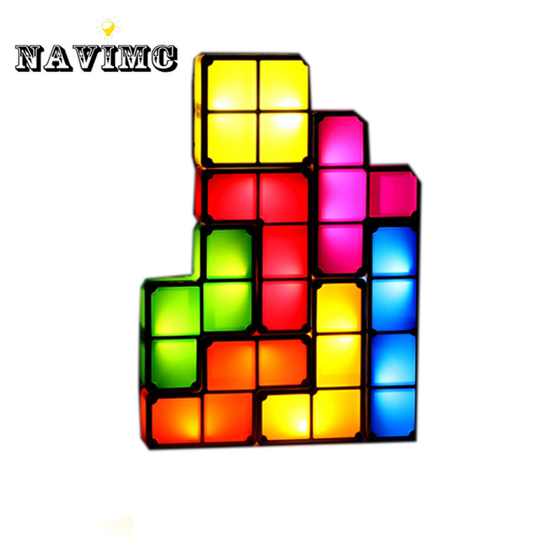 Tetris Puzzle Desk Lamp LED Table Lamp Night Light- Novelty Design DIY Retro Game Style tetris party deluxe