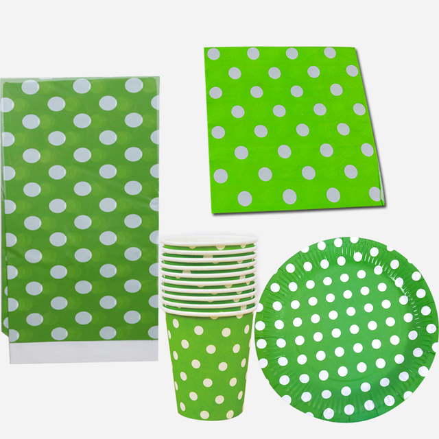 Wedding Party Decoration Paper Tableware Green Polka Dots Plates
