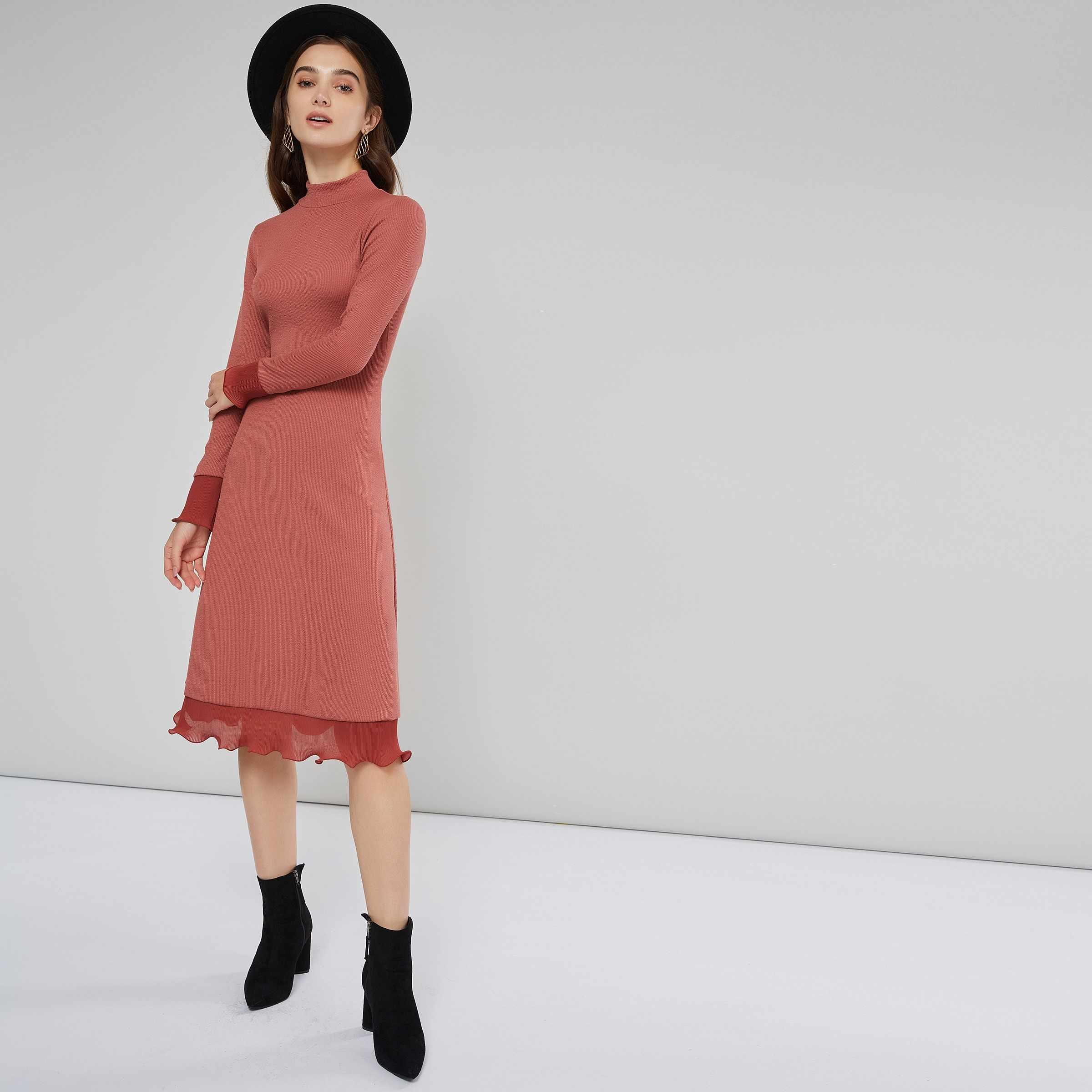 030aaedbd2f7f28 ... Sisjuly для женщин вечеринка Винтаж весна зима темно розовый вязаное  платье рюшами с длинным рукавом Лепесток ...