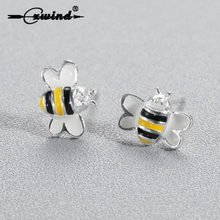 Tiny 3D Bee Earring Women Jewelry Fashion Cute Enamel Colorful Bees Stud Earrings For Daughter Girls Gift Wholesale oorbellen(China)