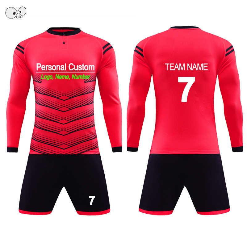 cc0b4886f Detail Feedback Questions about 2018 Child Kids Men Football Jerseys Kit  Long Sleeve Blank Soccer Training Suit Futsal Team Customized DIY Goalkeeper  ...