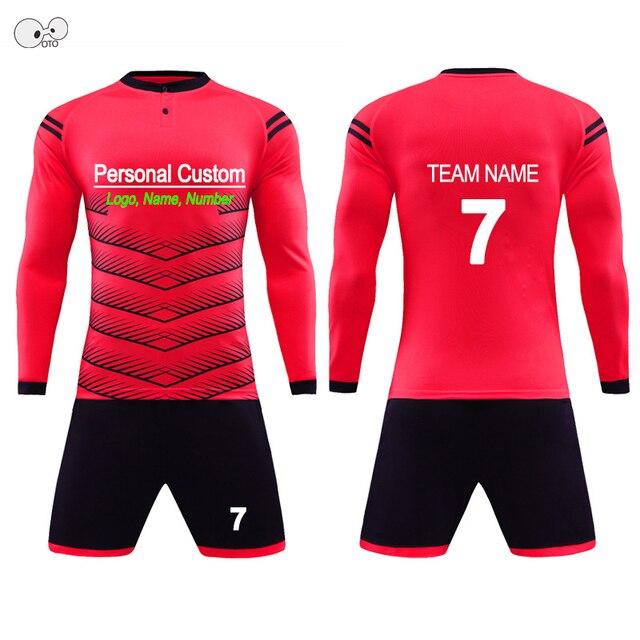 2018 Child Kids Men Football Jerseys Kit Long Sleeve Blank Soccer Training Suit Futsal Team Customized DIY Goalkeeper Uniforms