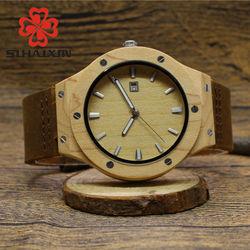 Sihaixin high quality bamboo wood watches men original wristwatch white dial auto date leather quartz watch.jpg 250x250