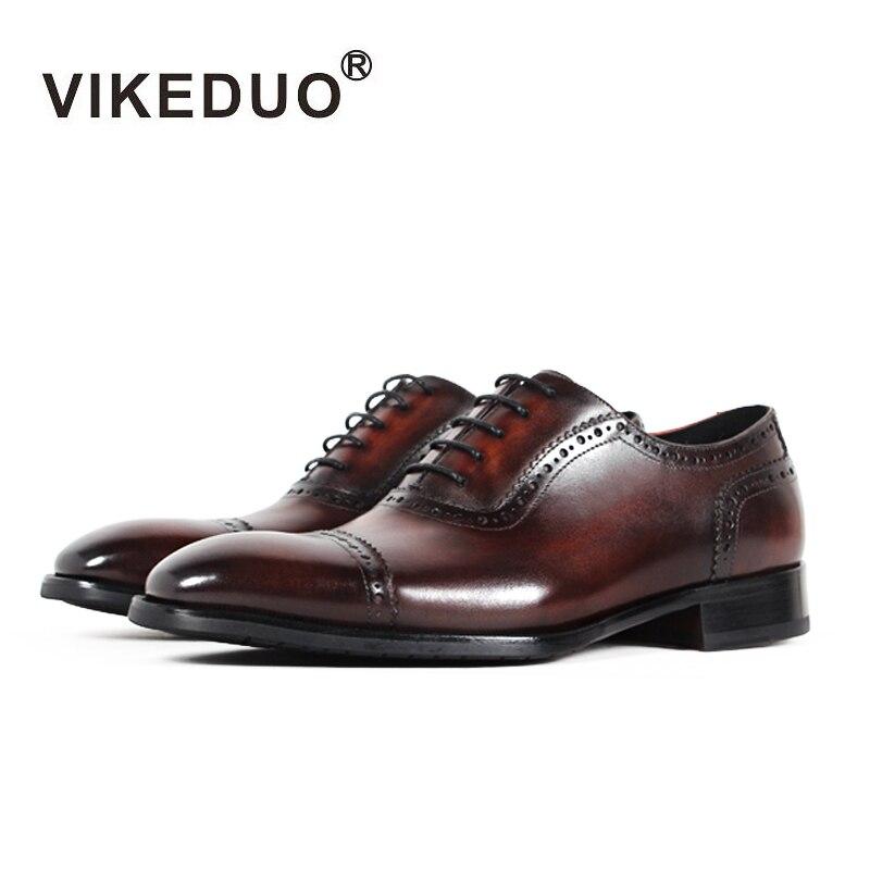 Ayakk.'ten Oksford'de Vikeduo 2019 El Yapımı Tasarımcı Vintage Retro Düz Düğün Parti Dans Ofis Erkek Ayakkabı Hakiki Deri Erkek Oxford Elbise Ayakkabı'da  Grup 1
