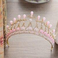 TREAZY 시뮬레이션 진주 신부의 웨딩 티아라 크리스탈 핑크 꽃 크라운 바로크 신부 여왕 공주 웨딩 헤어 액세서리
