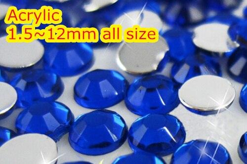 Cobalt 1.5~12mm Flat Back Round Acrylic rhinestone,Acrylic Resin 3D Nail Art / Garment Rhinestone  500pcs bag 13 18mm flat back oval shape acrylic rhinestones acrylic plastic 3d nail art garment jewelry rhinestone