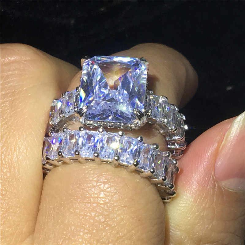 Vecalon Винтаж кольцо наборы 925 стерлингового серебра Принцесса cut кубический цирконий; для помолвки обручальные кольца для мужчин и женщин ювелирные изделия