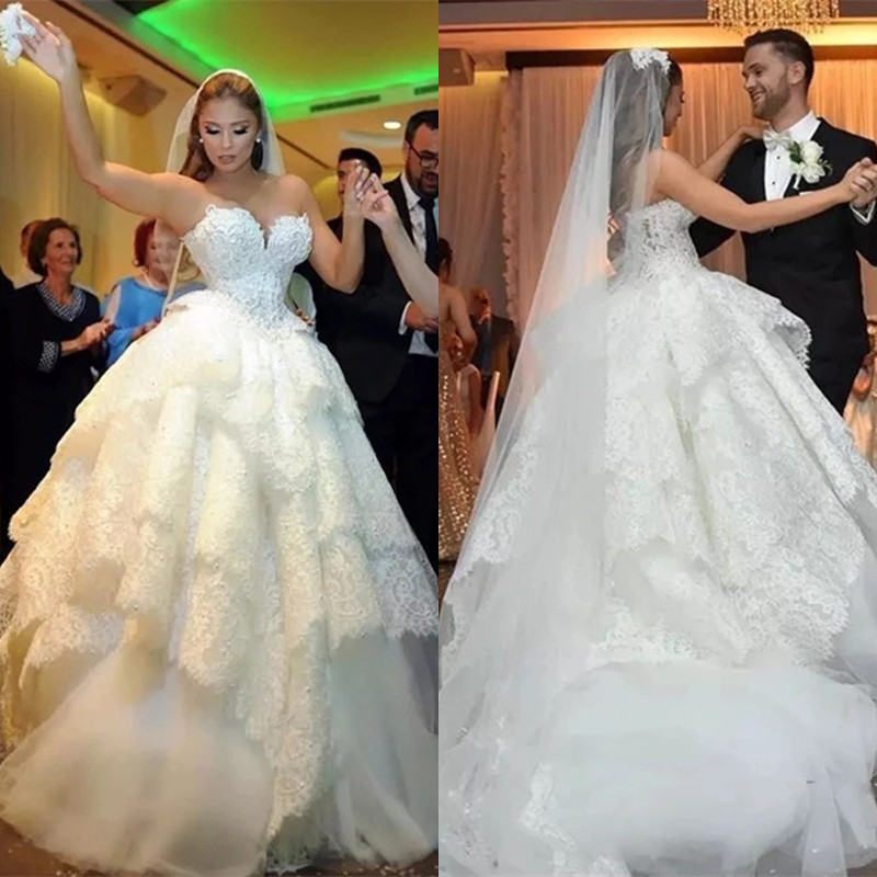 Custom Made Wedding Dresses 2019 Ball Gown Sweetheart Lace Beading Diamond Luxury Formal Bridal Wedding Gowns Plus Size ZD96